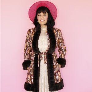 Vtg 70s Lilli Ann Iridescent Faux fur Coat SM